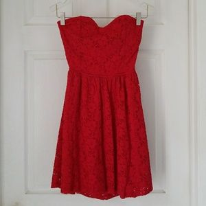 2B Bebe Red Strapless Dress